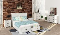 """Avalon"" Hamptons Style Brushed White Queen Size Bed with Storage Drawers, 5 Drawer Tallboy and 2 x Bedsides Package"