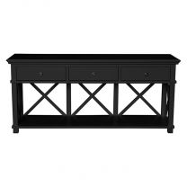"""Salisbury"" Hamptons Style 3 Drawer Hall Table Console Black L170xD50xH85cm"