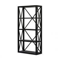 """Salisbury"" Hamptons Style Bookcase with shelves Black W100xD40xH200cm"