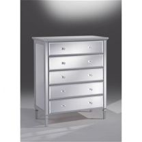 "FLOOR STOCK CLEARANCE SALE ""Gem"" Mirror Glass 5 Drawer Tallboy in Silver"