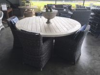 "SALE ""Hampshire"" Outdoor Hampton Style 180cm Pedestal Round Solid Teak Hardwood Timber Dining Table"