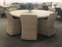 """Hampshire"" Outdoor Hampton Style 180cm Pedestal Round Solid Teak Timber Dining Table & Chairs 7 Piece Package"