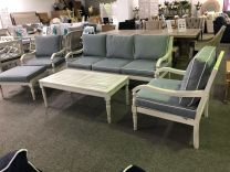 """Hampton"" Hardwood Timber Hamptons Style 6 Piece Lounge Setting Whitewash with Grey Cushions"