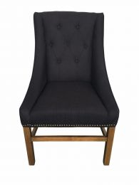 """""""Pierson"""" Hampton French Provincial Linen Buttoned Dining Chair Black"""