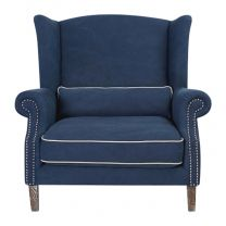 """""""Paris"""" Hampton Style Occasional Armchair Extra Large 1.5 Seater Navy Blue with Ivory Piping"""