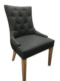 """""""Madison"""" Hampton Style French Provincial Linen Buttoned Dining Chair Black with Studds"""
