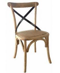 """Noosaville"" Oak Hardwood Timber Cross back Chair Industrial Black Metal Back"