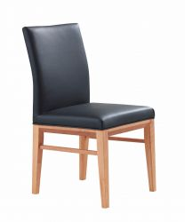 """Kaston"" Black 100% Genuine Cowhide Leather Dining Chair"