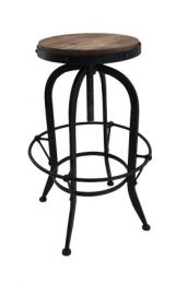 """""""Workshop"""" Black Industrial Style Bistro Style Swivel Stool Adjustable Seat Height 70 - 89cmH"""