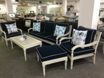 Hampton Hardwood Timber Hamptons Style 6 Piece Lounge Setting Whitewash with Navy Blue Cushions