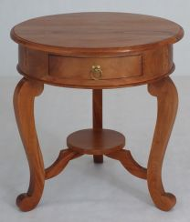 """Maison"" Light Pecan Round French Provincial Style Hardwood Timber Lamp Table with 1 Drawer"