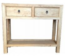 Shanghai Chinese Antique Reproduction Recycled Elm 2 Drawer Hall Table with Shelf