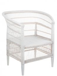 """""""Malawi"""" African Style Rattan Armchair in White Cane"""
