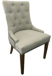 """""""Madison"""" Hampton Style French Provincial Linen Buttoned Dining Chair Cream Beige"""