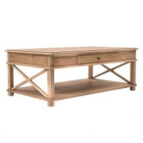 """Carlton"" Elm Hampton Style 120cm Rectangle Coffee Table with Cross Design on Sides"