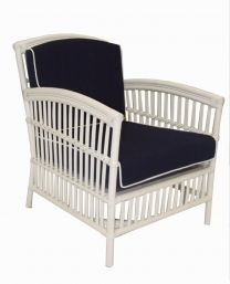"""Alfresco"" Armchair Rattan Lounge in White with Navy Cushions White Piping"