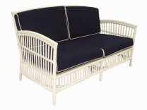 """Alfresco"" Hampton Style 2.5 Seater Rattan Lounge in White with Navy cushions"