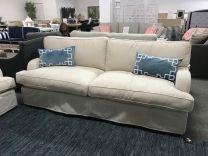 """New Hampton"" Hampton Style 3 Seater Lounge, 100% Australian Made, Loose Slip Cover Warwick Fabric, Feather Wrapped Dunlop Enduro Foam"