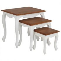 """Maison"" White with Caramel Top Nest of Small Side Tables French Provincial Style Solid Mahogany Hardwood"