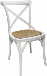 """Noosaville"" Vivid White Solid Hardwood Timber Cross Back Dining Chair"