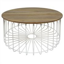 """Astro"" 80cm Round Coffee Table Timber & Wire Storage Coffee Table in White"