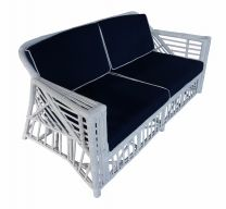 """""""Long Island"""" Hamptons Style 2.5 Seater Rattan Alfresco Lounge in White with Navy Blue cushions"""