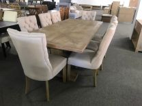 """Tuscany"" 240 Dining Table with 8 Henry Chairs Package Whitewash Hampton Style Pedestal Base Dining Table"