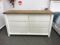 """Jefferson"" Solid Timber Two Tone Coastal Hamptons Style Dresser with 6 Drawers, 144x45xH82cm"