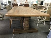 """Madrid"" Recycled Elm Solid Timber Hamptons Style Dining Table with Pedestal Base 245x110cm"