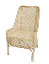 """Albany"" White Wash Hamptons Rattan Cane Armchair Dining Chair"