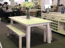 """Plantation"" Hamptons Style Hardwood Timber 180x95cm Dining Table and 2 x Bench Seats Package Whitewash"
