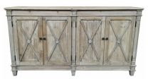 Byron Coastal Style Recycled White Wash Timber 4-Door Buffet, 165x40x90(H)