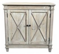 Byron Coastal Style Recycled White Wash Timber 2-Door Cabinet, 90x40x90(H)