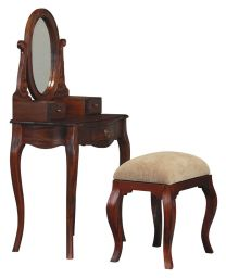 """Maison"" French Provincial 70x45cm Mahogany Dressing Table Desk with Mirror and Stool Solid Mahogany Hardwood Timber"