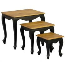 """""""Maison"""" Black with Caramel Top Nest of Small Side Tables French Provincial Style Solid Mahogany Hardwood"""