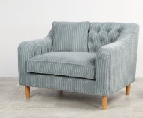"""Como"" Large Occasional Armchair in Aqua Ribcord Fabric"