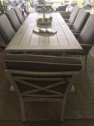 """Riviera"" Hampton Style 9 Piece Outdoor Aluminium Dining Setting - Grey"