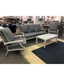 """Riviera"" Hampton Style 4 Piece Aluminium Outdoor Lounge Setting White with Grey Cushions"