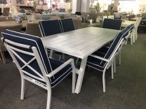 """Riviera"" Hampton Style 7 Piece Outdoor Aluminium Dining Setting AVAILABLE IN NAVY OR GREY CUSHIONS"