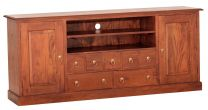 """Normandy"" Light Pecan French Provincial Timber 187cm Entertainment TV Unit with 7 Drawers"