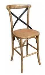 """Noosaville"" Oak Hardwood Metal Cross Back Bar Stool 66cm Extra Wide Seat"