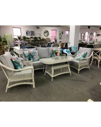 """Seaside"" Hamptons Style 4 Piece Outdoor Lounge Dining Setting Synthetic Wicker with Grey Cushions"