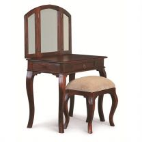 """Maison"" Mahogany Colour French Provincial Style Solid Mahogany Timber Dressing Table Desk with Drawer"