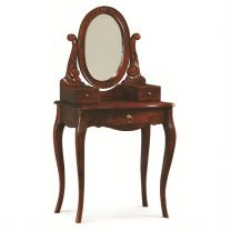 """Maison"" French Provincial 70x45cm Mahogany Dressing Table Desk with Mirror Solid Mahogany Hardwood Timber"