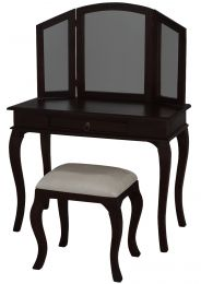 """""""Maison"""" Chocolate French Provincial Style Solid Mahogany Timber Dressing Table Desk with Drawer"""