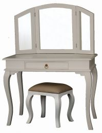 """Maison"" White French Provincial Style Solid Mahogany Timber Dressing Table Desk with Drawer"