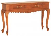 """""""Maison"""" Light Pecan 2 Drawer Carved Hardwood Timber Hall Console Table"""