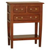"""""""Ellen"""" Light Pecan Solid Mahogany Timber Hall Table with 3 Drawers, L65xD35xH83cm"""