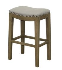"""""""Milly"""" Upholstered Linen Bar Stool Natural Beige Oak Legs"""