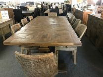 """Tuscany"" 9 Piece Solid Mango Wood Dining Table Package 240cm Table with 8 Rattan Avoca Chairs in Mocha"